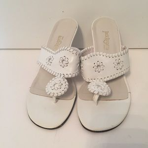 JACK ROGERS SANDALS THONG NAVAJO WHITE LEATHER 7.5
